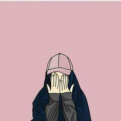gambar kartun hijab menangis