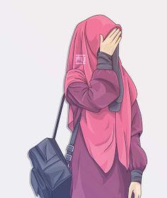 gambar kartun wanita muslimah syari