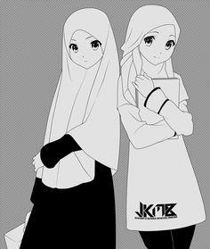gambar kartun memakai hijab