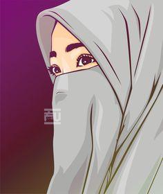 kartun muslimah sedih kecewa