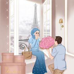 gambar kartun jilbab cadar