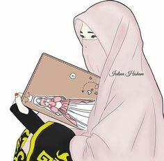 gambar kartun muslimah berjilbab syar'i