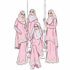 gambar kartun muslimah berhijab cantik