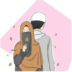gambar kartun jilbab romantis