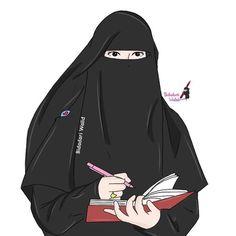 gambar kartun wanita berhijab syar'i