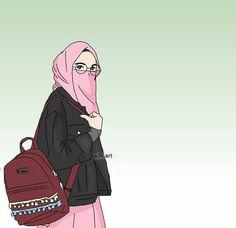 gambar kartun wanita muslimah bercadar cantik