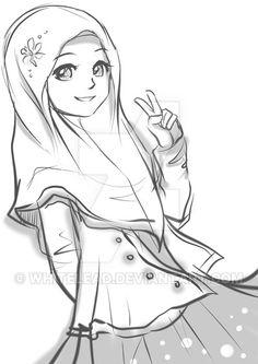 gambar kartun orang memakai jilbab