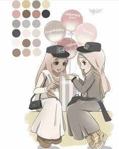 gambar kartun perempuan memakai kerudung