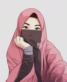 gambar kartun muslimah berjilbab cantik