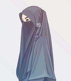 gambar kartun perempuan syari