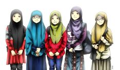gambar kartun wanita hijab syar'i