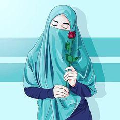 kartun muslimah sedih karena cinta