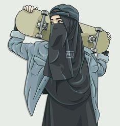 gambar kartun wanita muslimah berjilbab cantik