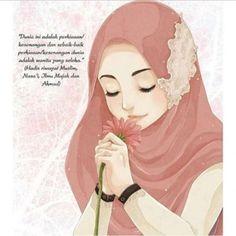 kartun muslimah cantik berkacamata
