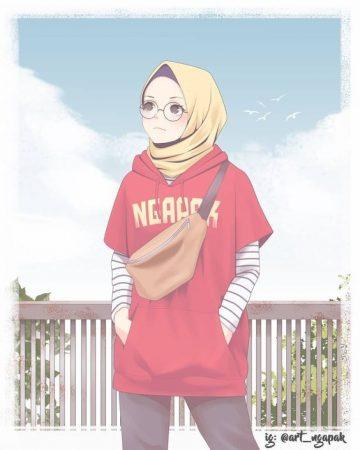 gambar kartun wanita muslimah berkacamata